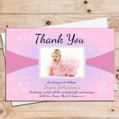 10 Personalised Girls Christening Thank you PHOTO Cards N26